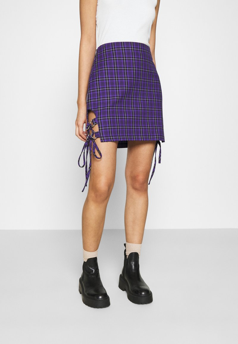 The Ragged Priest - CHECK MINI SKIRT - Minihame - purple