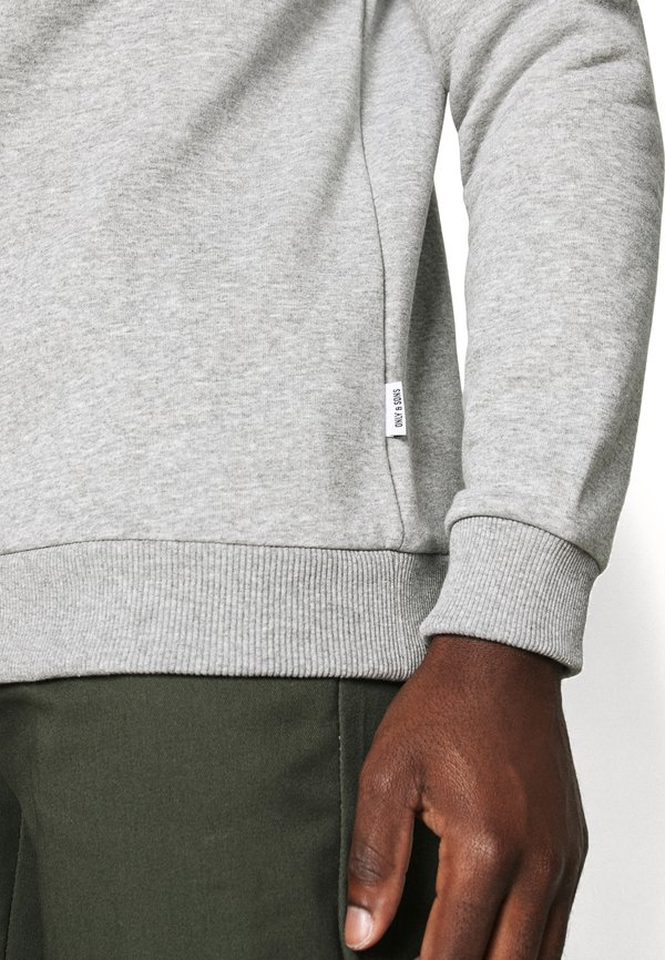Only & Sons ONSCERES LIFE CREW NECK - Bluza - light grey melange/jasnoszary melanż Odzież Męska LOAO