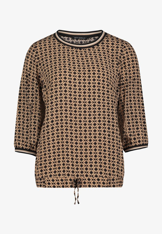 MIT MUSTER - Long sleeved top - black/camel