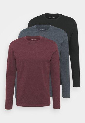 3 PACK - Långärmad tröja - bordeaux/black/dark blue