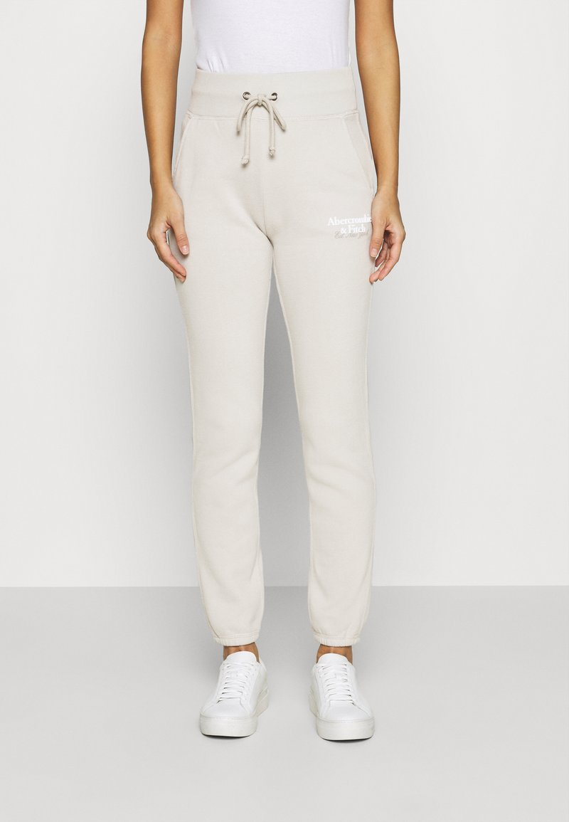 Abercrombie & Fitch - LOGO - Tracksuit bottoms - oatmeal
