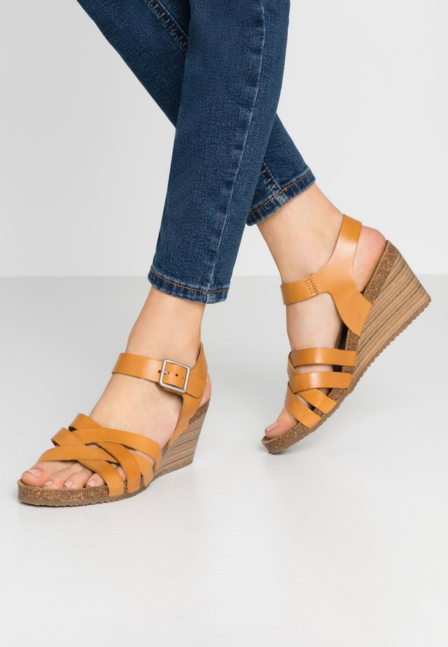 SOLYNA - Wedge sandals - jaune safran