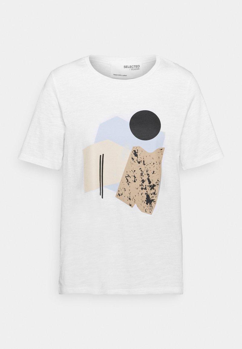 Selected Femme - SLFNINA O NECK TEE - Print T-shirt - bright white