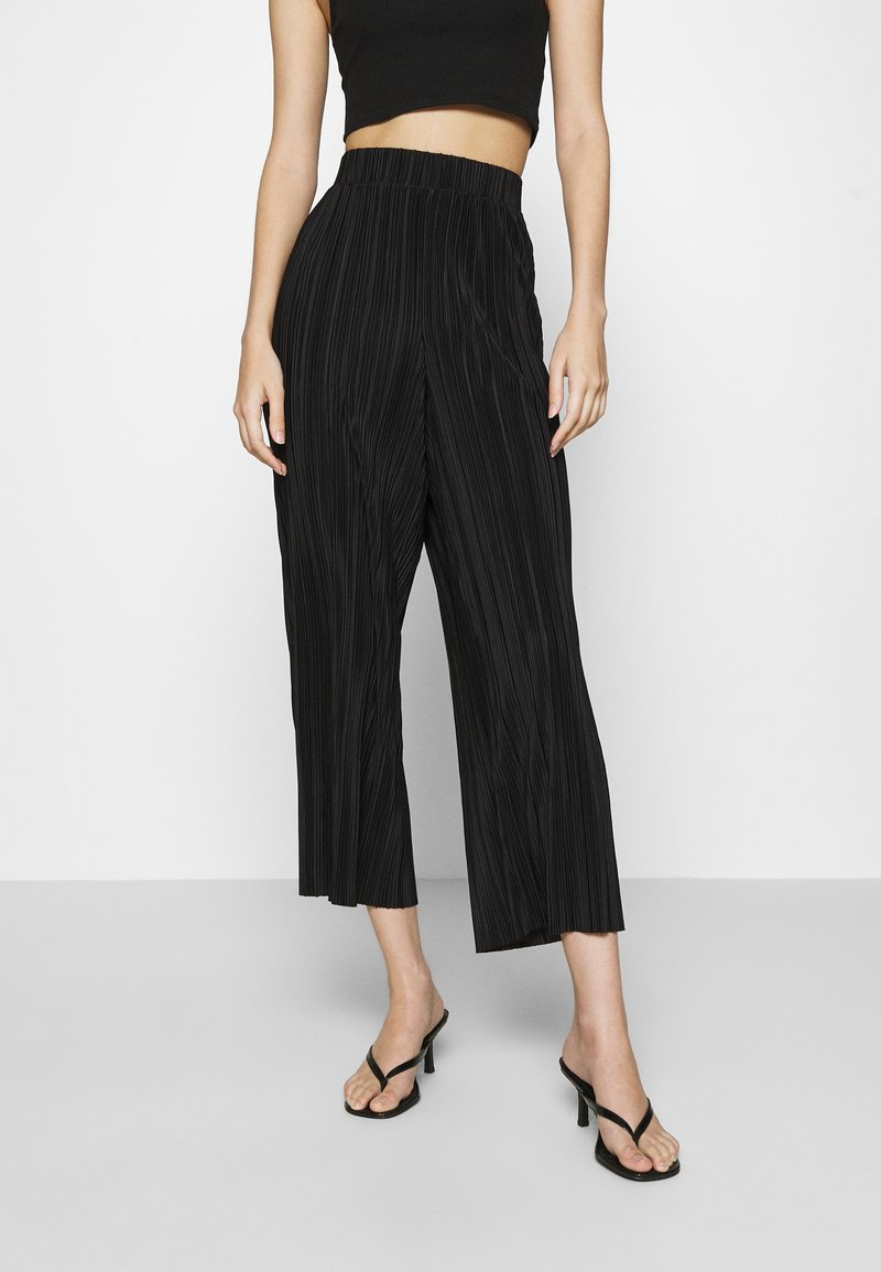 Monki - SEVERINA TROUSERS - Trousers - black dark