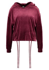 Urban Classics - LADIES SHORT GATHERED HOODY - Mikina s kapucí - port