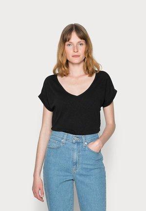 SHORT-SLEEVE WIDE BODYSHAPE V-NECK - T-shirts basic - black