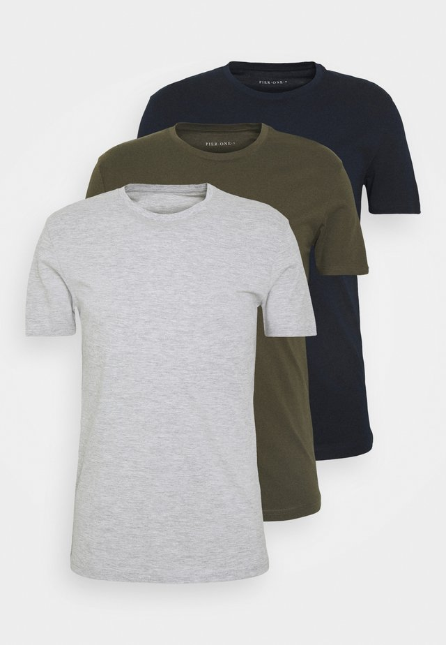 3 PACK - T-shirts basic - olive/dark blue/grey