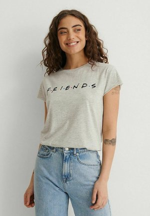 RAW EDGE - Print T-shirt - grey melange friends logo
