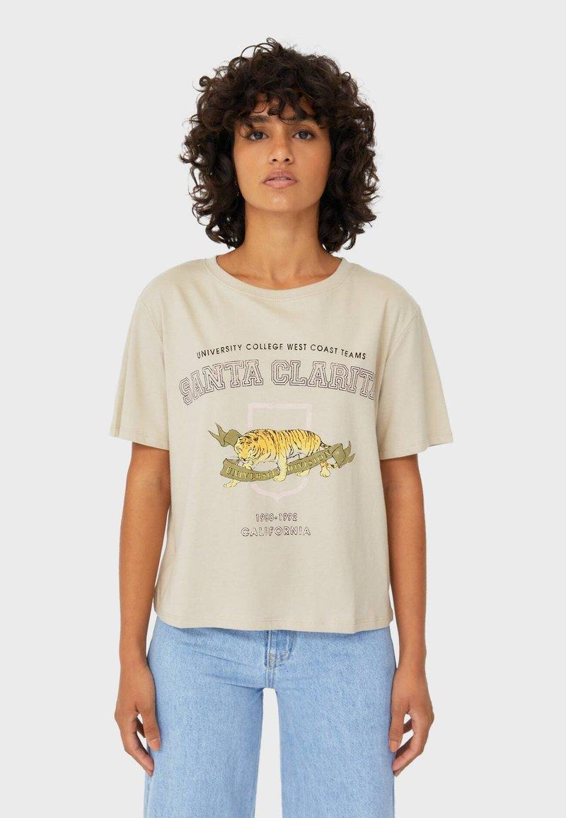 Stradivarius - Print T-shirt - beige