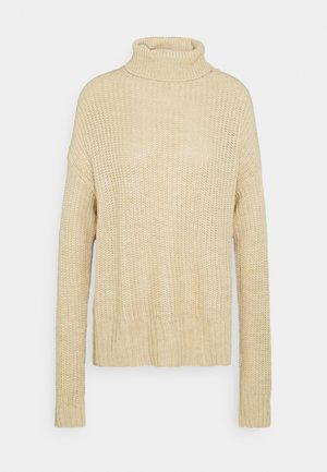 BASIC- Roll neck- long line - Pullover - sand