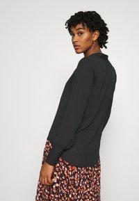 Vila - VILUCY BUTTON V NECK - Button-down blouse - black - 2
