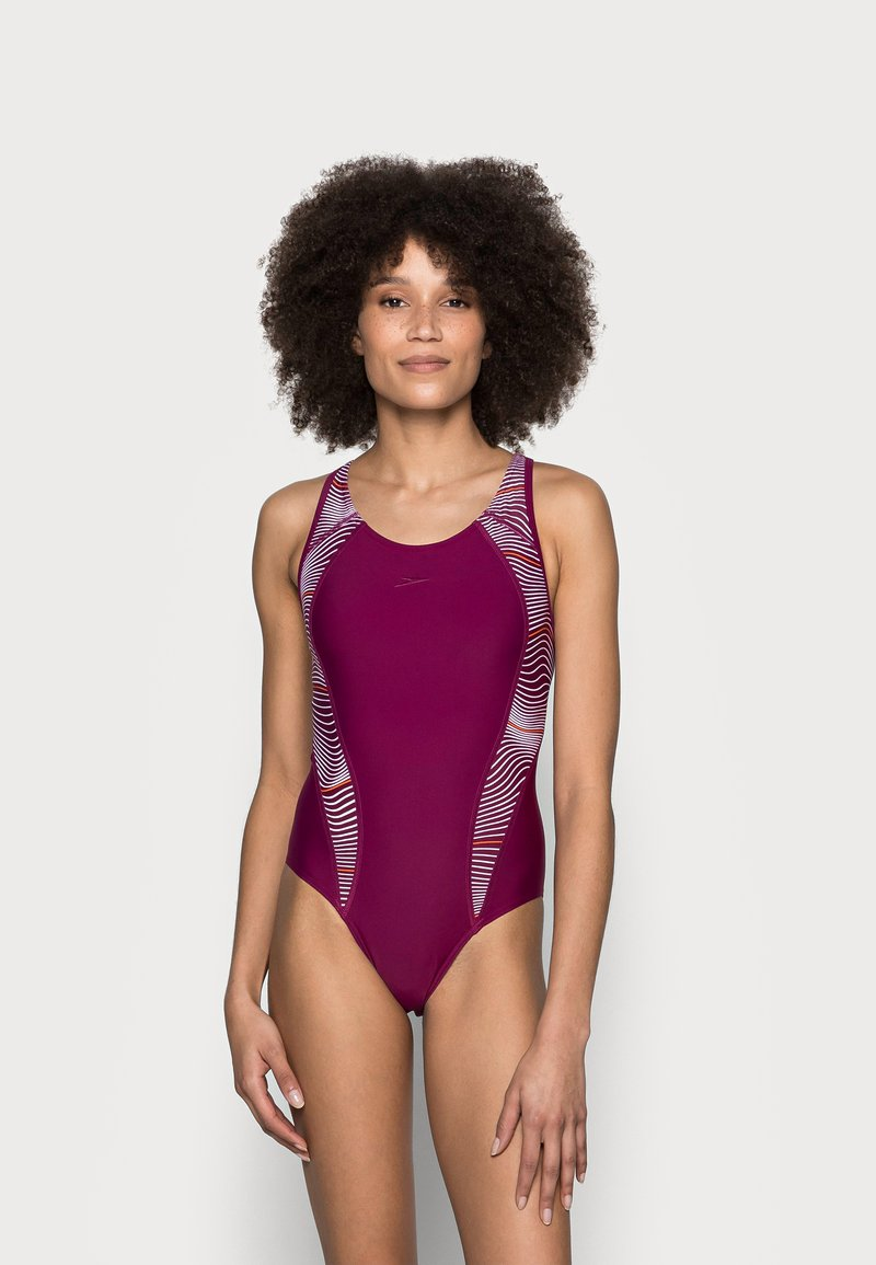 Speedo - ALLOVER PANEL LANEBACK - Swimsuit - deep plum/white/orange fizz