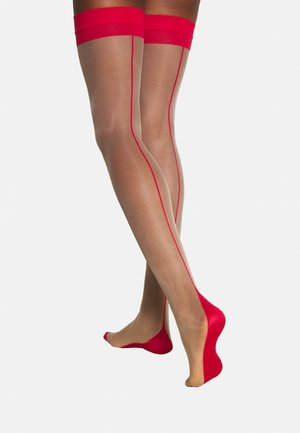 STOCKINGS BACKSEAM LEG - Nadkolenky - nude/red