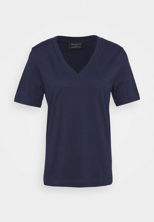 SLFSTANDARD V NECK TEE - Jednoduché triko - maritime blue
