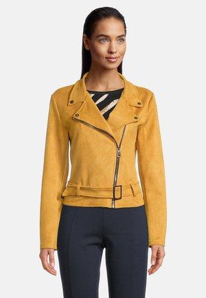 MIT GÜRTEL - Leather jacket - chinese yellow