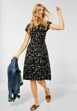 MIT BLUMEN - Jersey dress - schwarz