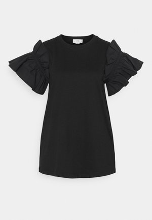 RUFFLE SHIRTING SLEEVE - T-paita - black