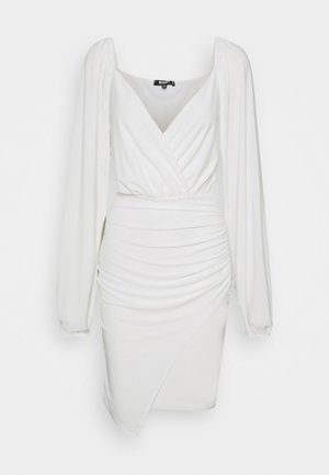 BALLOON SLEEVE SLINKY V NECK DRESS - Robe d'été - cream