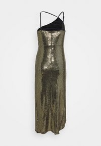 Missguided - GOLD SEQUIN RUCHED DETAIL MIDI DRESS - Cocktail dress / Party dress - bronze - 1