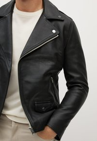 Mango - PERFECT - Leather jacket - schwarz - 4