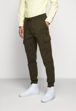 DOUBLE TECH - Tracksuit bottoms - olive