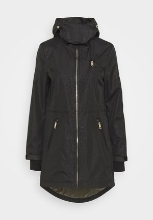 EMBOSSED ANORAK - Classic coat - black