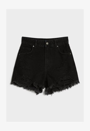 MIT RISSEN - Shorts di jeans - black