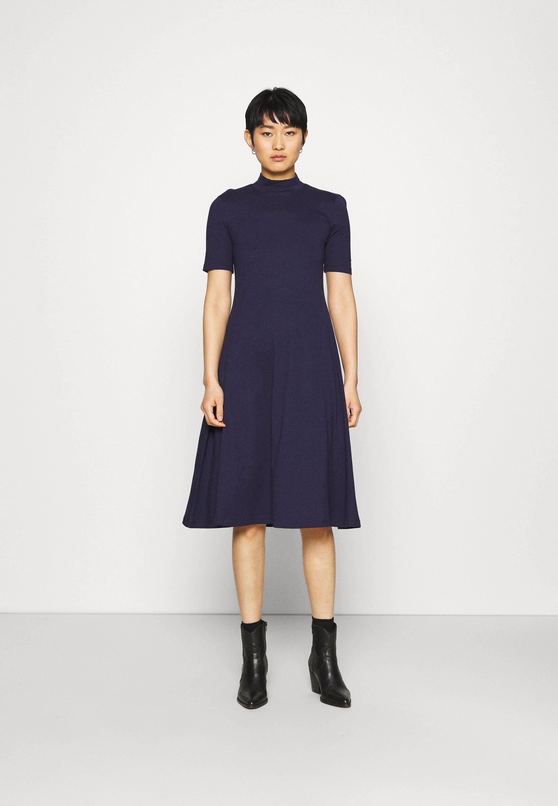 Damen Short sleeves flared basic midi dress - Jerseykleid