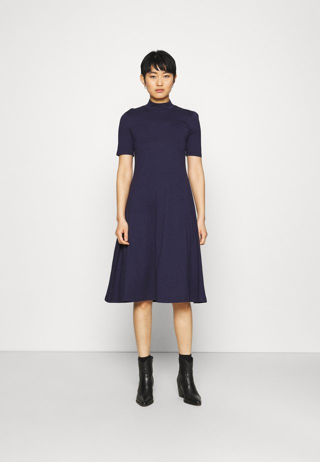 Short sleeves flared basic midi dress - Jersey dress - dark blue