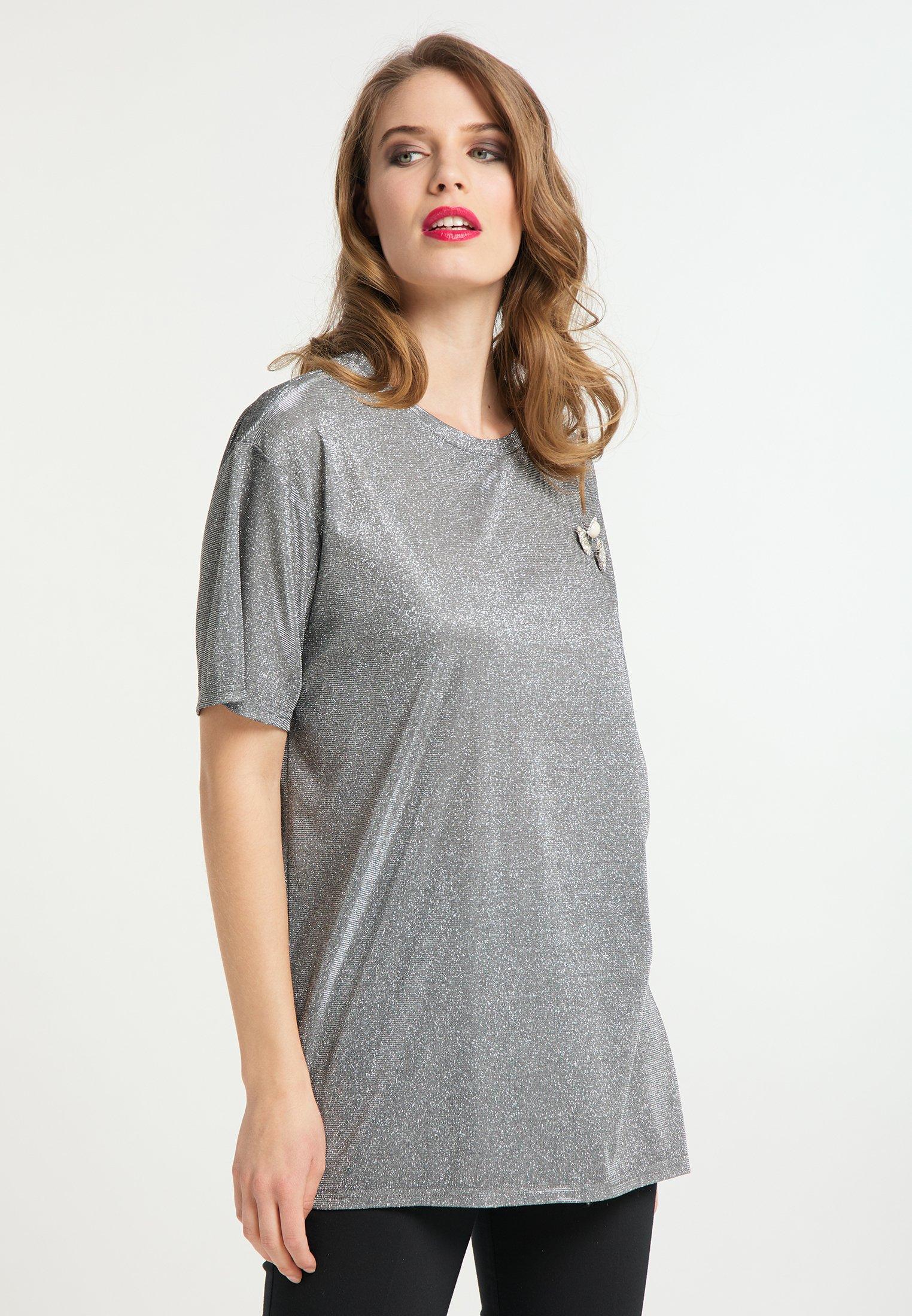New Women's Clothing faina Print T-shirt schwarz silber 2S5P5Njdm