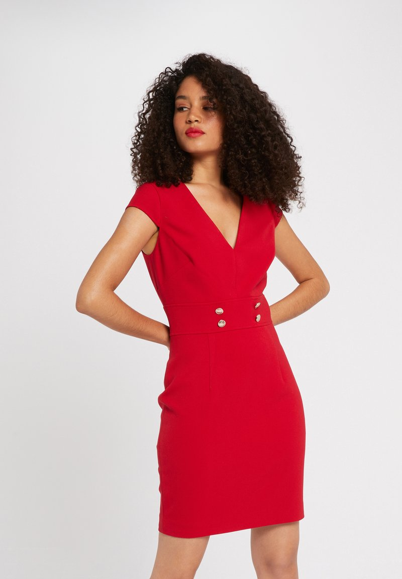 Morgan - WITH DECORATIVE BUTTONS - Shift dress - red