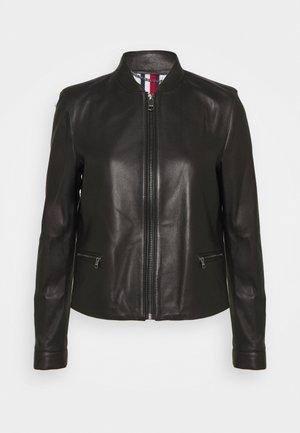 VARSITY - Leather jacket - black