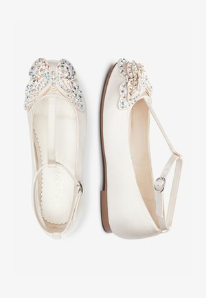 IVORY EMBELLISHED BUTTERFLY T-BAR SHOES (OLDER) - Ankle strap ballet pumps - white