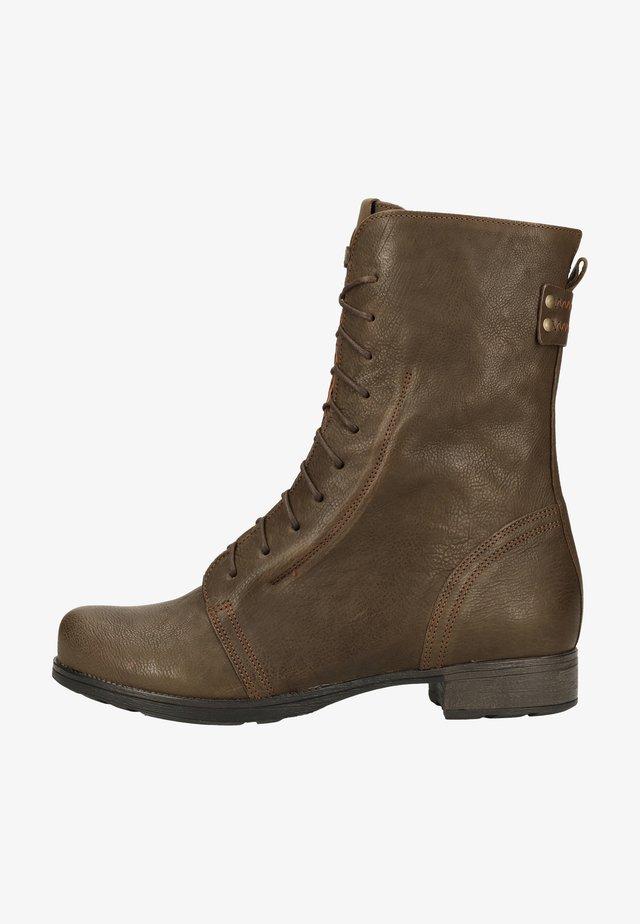 Platform ankle boots - oliv
