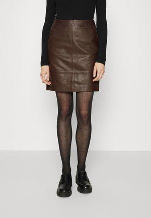 CHARGZ SKIRT - Leather skirt - coffee bean