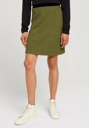 A-line skirt - khaki olive melange