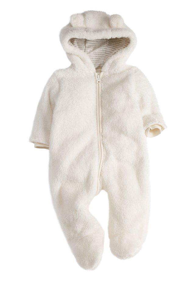 ECRU COSY FLEECE BEAR PRAMSUIT (0MTHS-2YRS) - Overall / Jumpsuit - off-white