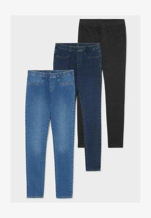 3 pack - Jeggings - blue denim / black