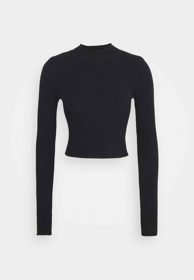 CROPPED JUMPER WITH LONG SLEEVES AND HIGH ROUND NECKLINE - Svetr - black