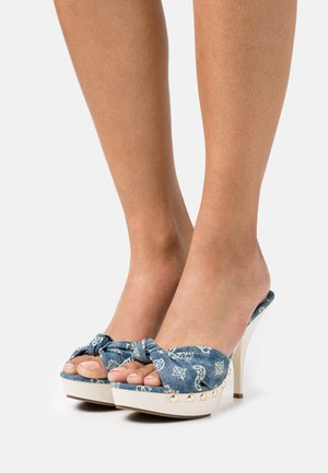 TAILAN - Heeled mules - denim