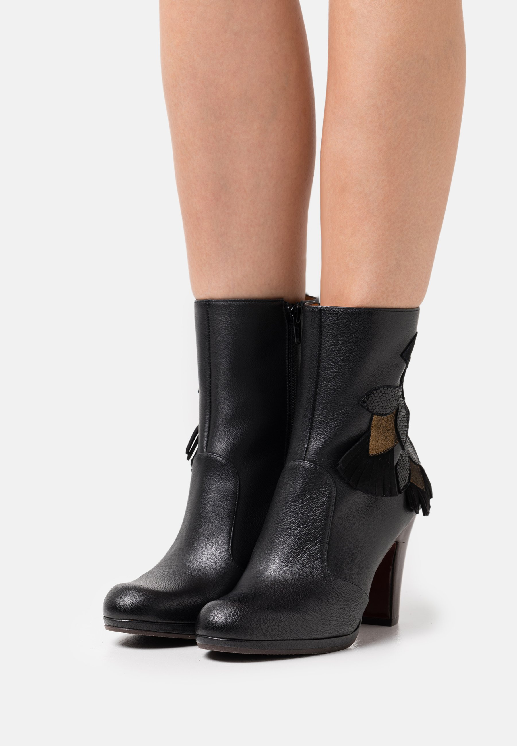 Women CHECHE - Classic ankle boots - lame navy/ fox palais nero/lame bronce