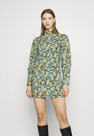 MINI DRESS WITH LONG SLEEVES - Robe d'été - blue green/multi
