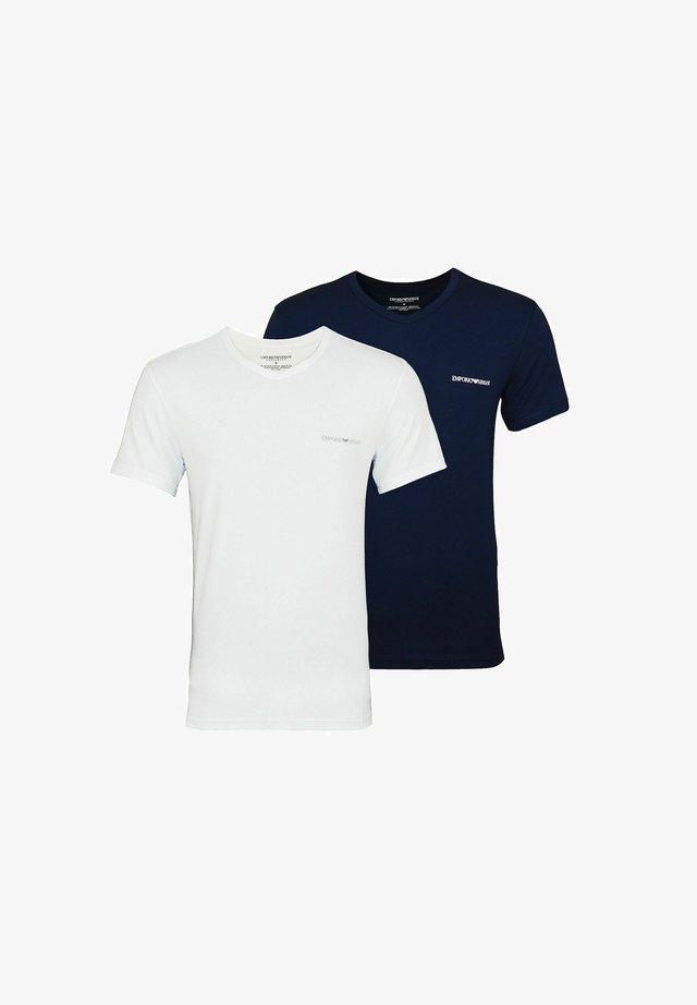 2 PACK  - T-shirt basic - white/dark blue