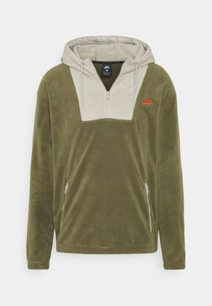 NOVELTY HOODIE UNISEX - Fleece jumper - medium olive/stone/electro orange