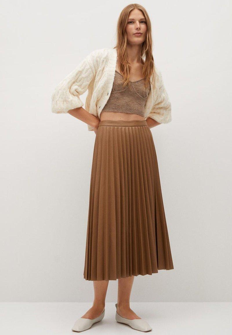 Mango - ONA - A-line skirt - středně hnědá