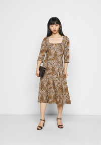 Dorothy Perkins Petite - ANIMAL SQUARE NECK MIDI DRESS - Day dress - brown - 1