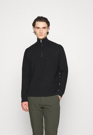 GUNA TURTLE NECK ZIP - Stickad tröja - black