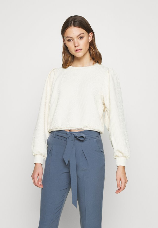 ONLCABLE O-NECK - Long sleeved top - ecru