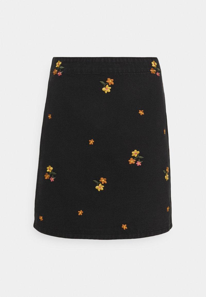 Vila - VIDAHLA YOLA SKIRT - Denim skirt - black