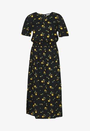 TALL PRINT SHIRRED WAIST MIDI DRESS - Denní šaty - black
